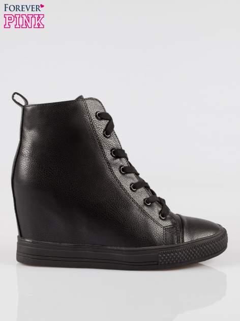 Czarne klasyczne trampki na koturnie sneakersy                                  zdj.                                  1