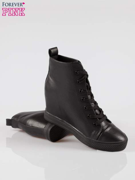 Czarne klasyczne trampki na koturnie sneakersy                                  zdj.                                  4