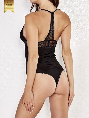 Czarne koronkowe body damskie z wycięciem na plecach                                  zdj.                                  2