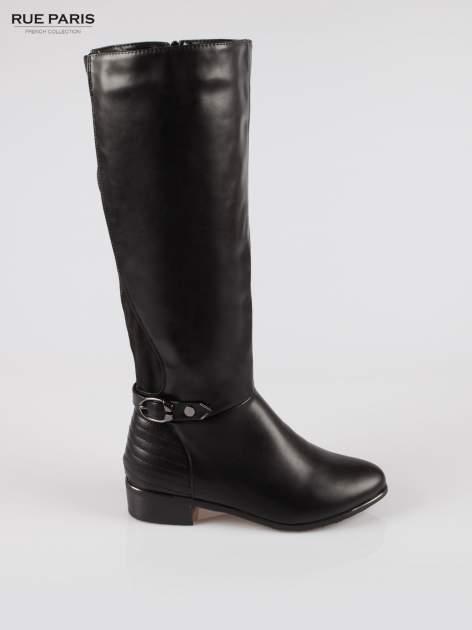 Czarne kozaki z klamerką w stylu biker boots                                  zdj.                                  1