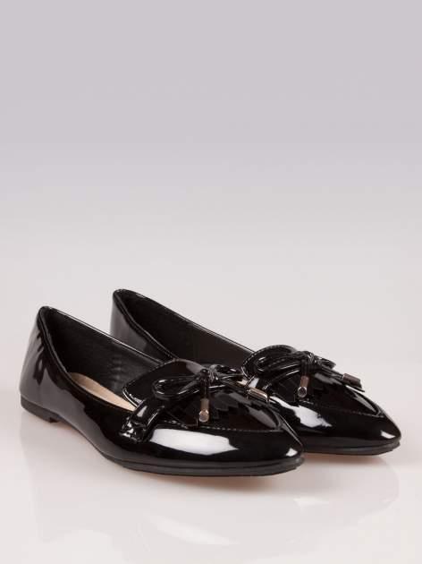 Czarne lakierowane lordsy faux leather Miracle z kokardką                                  zdj.                                  2