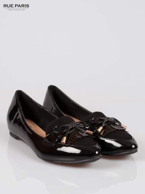 Czarne lakierowane mokasyny faux polish leather z kokardką                                  zdj.                                  2