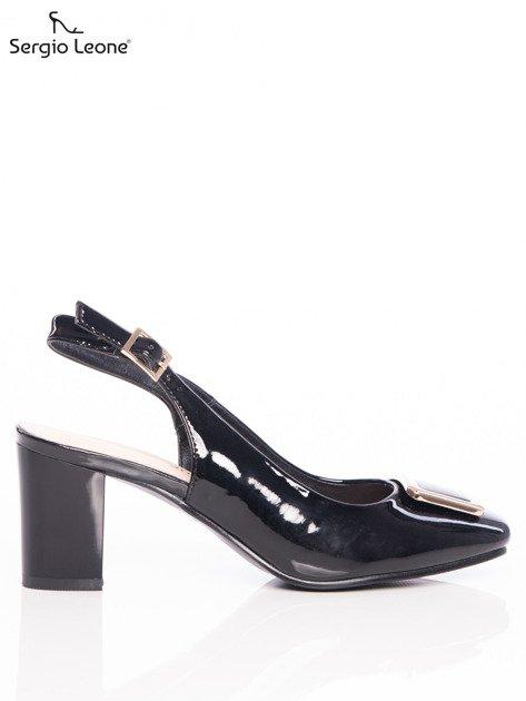 Czarne lakierowane sandały Sergio Leone z ozdobną złotą blaszką na przodzie                              zdj.                              1