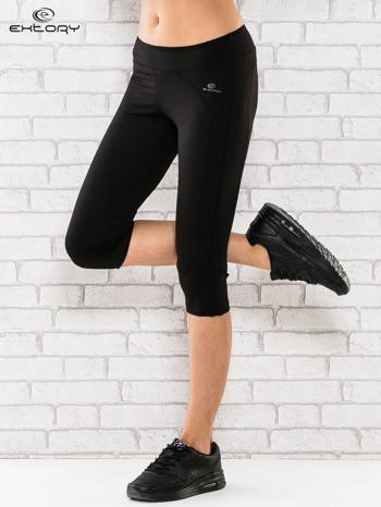 Czarne legginsy 3/4 sportowe termalne z lampasami                                  zdj.                                  1