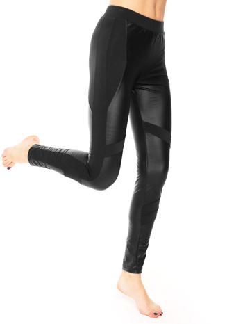 Czarne legginsy modelujące ze skórzanymi panelami                                  zdj.                                  6