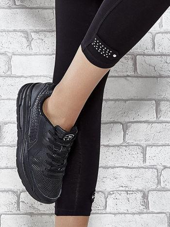 Czarne legginsy sportowe z patką z dżetów na dole                                  zdj.                                  7