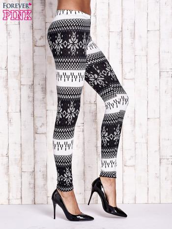 Czarne legginsy w norweskie wzory                                  zdj.                                  2