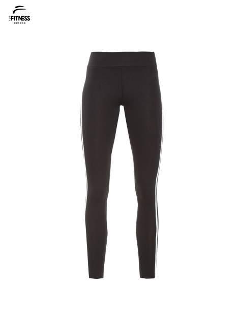 Czarne legginsy z biało-szarymi lampasami                                  zdj.                                  5