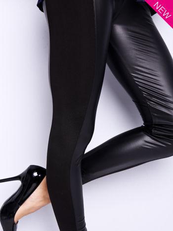 Czarne legginsy z łączonych materiałów                                  zdj.                                  3