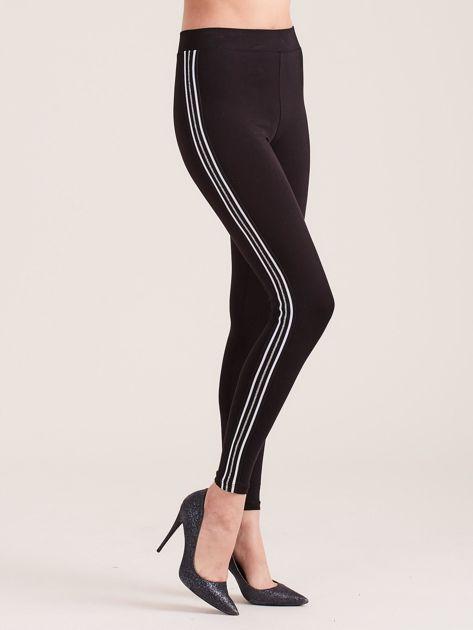 Czarne legginsy z lampasami                              zdj.                              3