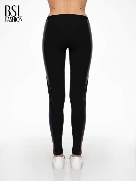 Czarne legginsy z lampasami ze skóry ekologicznej                                  zdj.                                  4