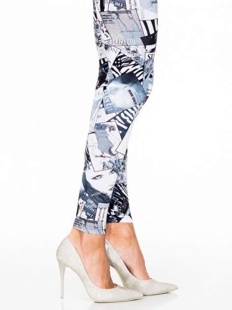 Czarne legginsy z nadrukiem magazines print                                  zdj.                                  5