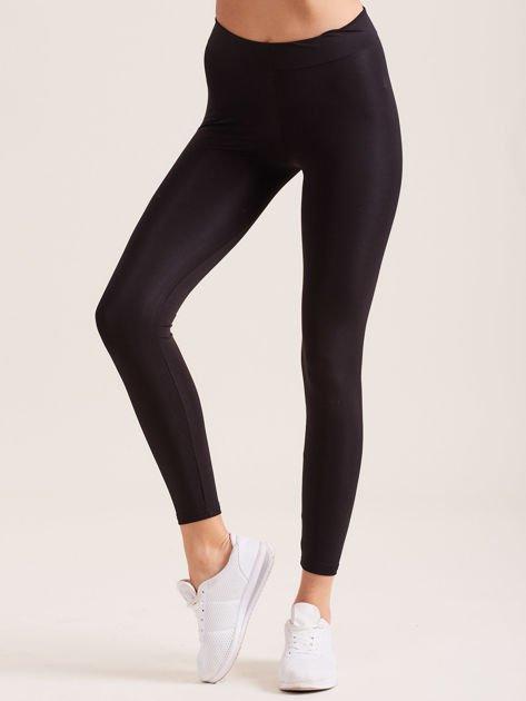 Czarne legginsy z szeroką gumką w pasie                               zdj.                              1