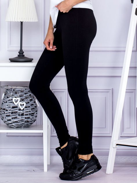 Czarne legginsy z szerokim pasem                              zdj.                              3