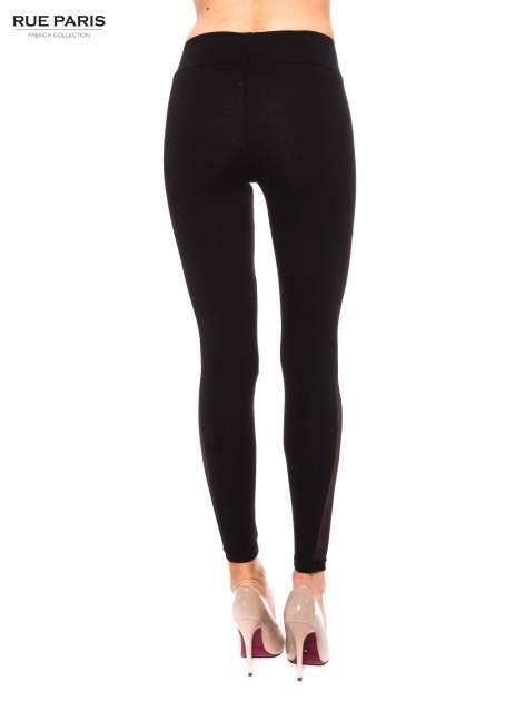Czarne legginsy z tiulową siateczką                                   zdj.                                  3