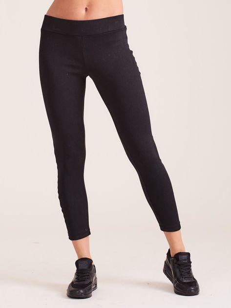 Czarne legginsy z trójkolorowym lampasem                              zdj.                              2