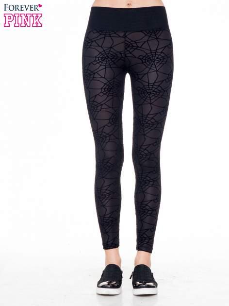 Czarne legginsy z wysokim pasem z nadrukiem pajęczej sieci                                  zdj.                                  1
