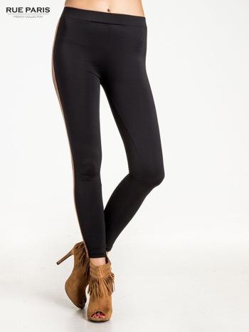 Czarne legginsy ze skórzanym lampasem                                  zdj.                                  1