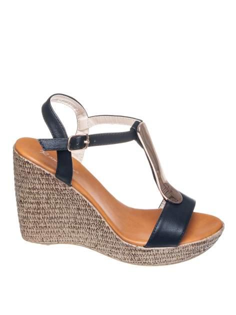 Czarne letnie sandały t-bary na koturnie