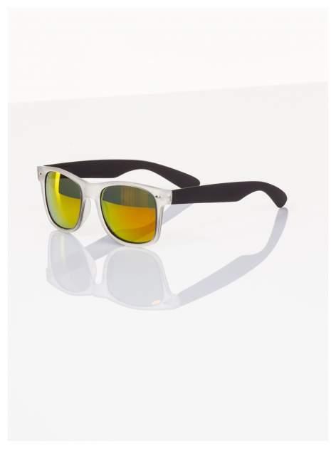Czarne lustrzanki z filtrami UV okulary z klasyczną oprawką WAYFARER NERD z efektem mlecznego szkła-odporne na wyginania                                  zdj.                                  1