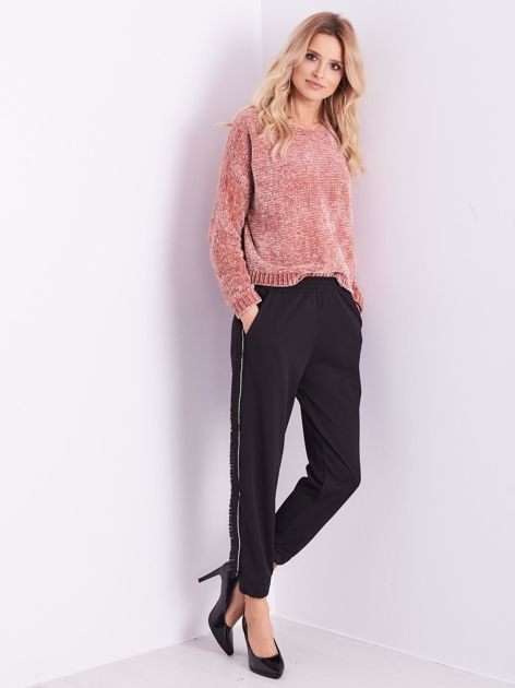 Czarne luźne spodnie z falbankami                              zdj.                              12