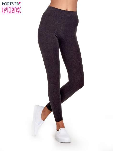 Czarne melanżowe legginsy damskie basic