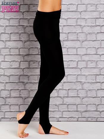 Czarne ocieplane legginsy zakładane na stopę                                  zdj.                                  2
