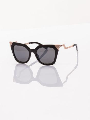 Czarne okulary FASHION przeciwsłoneczne KOCIE OCZY stylizowane na FENDI
