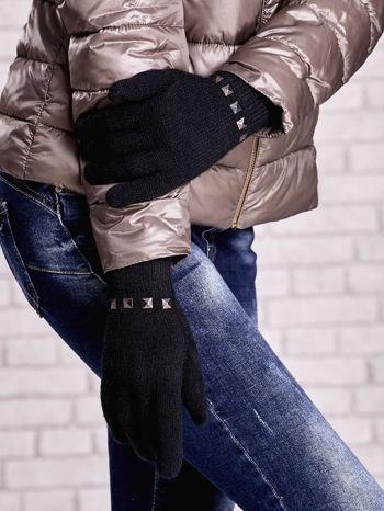 Czarne proste rękawiczki z ćwiekami                                  zdj.                                  3