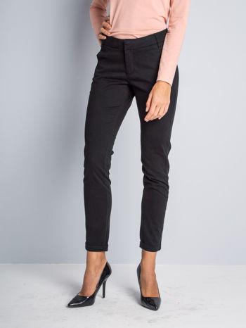 Czarne proste spodnie typu cygaretki 7/8                                  zdj.                                  1