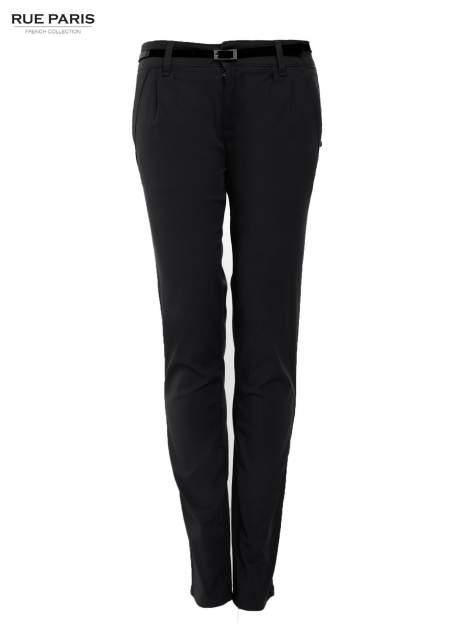 Czarne proste spodnie z paskiem                                  zdj.                                  1