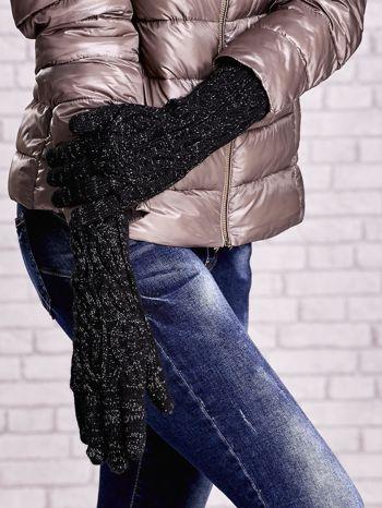 Czarne rękawiczki o warkoczowym splocie z błyszczącą nicią                                  zdj.                                  3