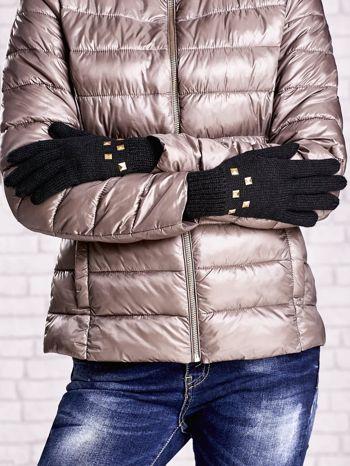 Czarne rękawiczki  z ćwiekami i ściągaczem                                  zdj.                                  2