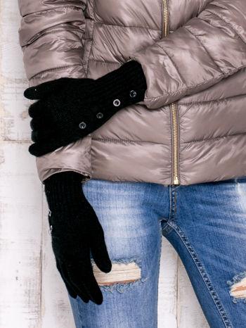 Czarne rękawiczki z guzikami                                  zdj.                                  3