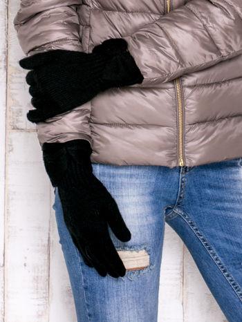 Czarne rękawiczki z kokardą w stylu retro                                  zdj.                                  3