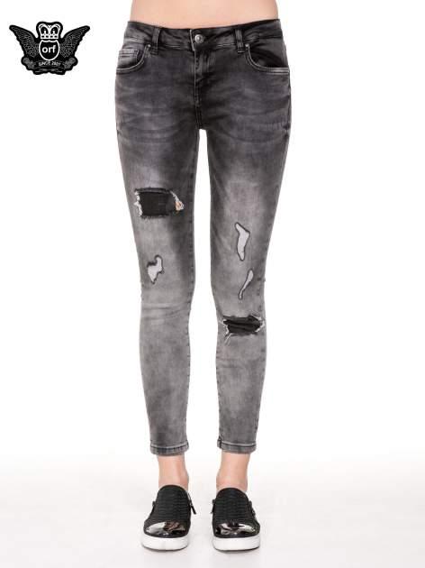 Czarne rozjaśniane spodnie jeansowe 7/8 z przetarciami i łatami                                  zdj.                                  5