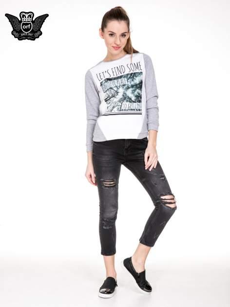 Czarne rozjaśniane spodnie jeansowe 7/8 z rozdarciami                                  zdj.                                  4