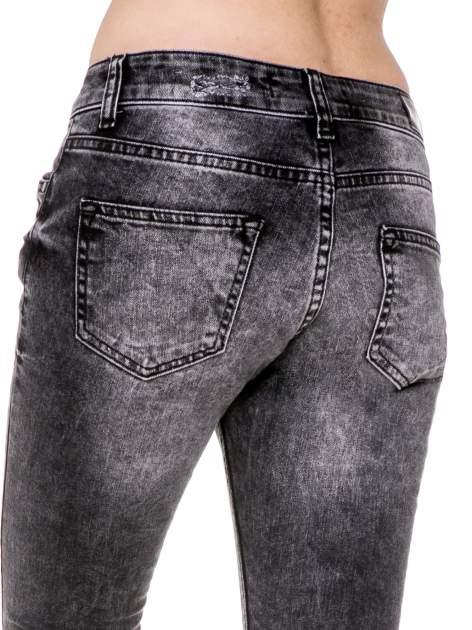 Czarne rozjaśniane spodnie jeansowe 7/8 z rozdarciami                                  zdj.                                  8