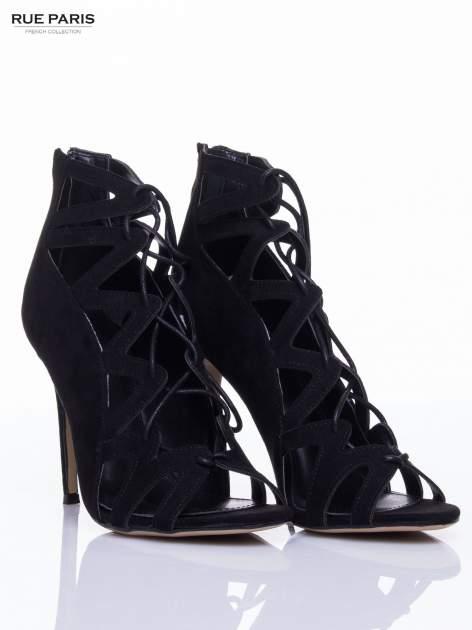 Czarne sandały gladiatorki                                  zdj.                                  3