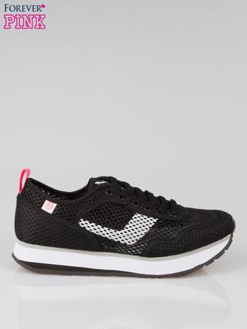 Czarne siateczkowe buty sportowe textile High Level na platformie                                  zdj.                                  1