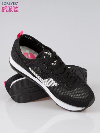 Czarne siateczkowe buty sportowe textile High Level na platformie                                  zdj.                                  4