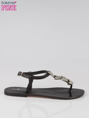 Czarne skórzane sandały japonki ze złotą aplikacją                                  zdj.                                  1