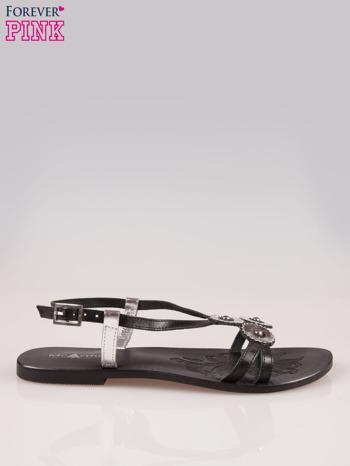 Czarne skórzane sandały ze srebrnymi kwiatami                                  zdj.                                  1