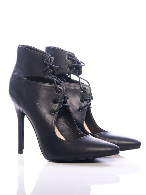 Czarne skórzane sznurowane botki faux leather Isoldecut out lace up                                  zdj.                                  1
