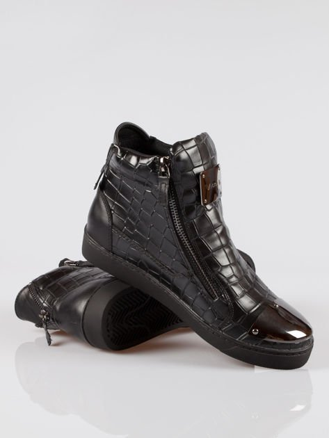 Czarne sneakersy Vanessa tłoczone na wzór skóry krokodyla                                  zdj.                                  4
