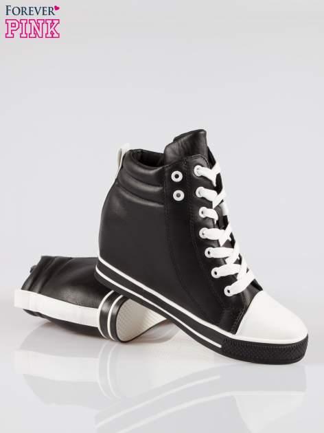 Czarne sneakersy trampki cap toe na koturnie                                  zdj.                                  4