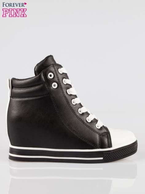 Czarne sneakersy trampki cap toe na koturnie                                  zdj.                                  1