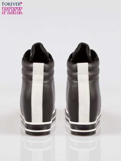 Czarne sneakersy trampki cap toe na koturnie                                  zdj.                                  3