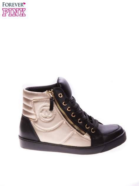 Czarne sneakersy za kostkę ze złotą wstawką i suwakiem