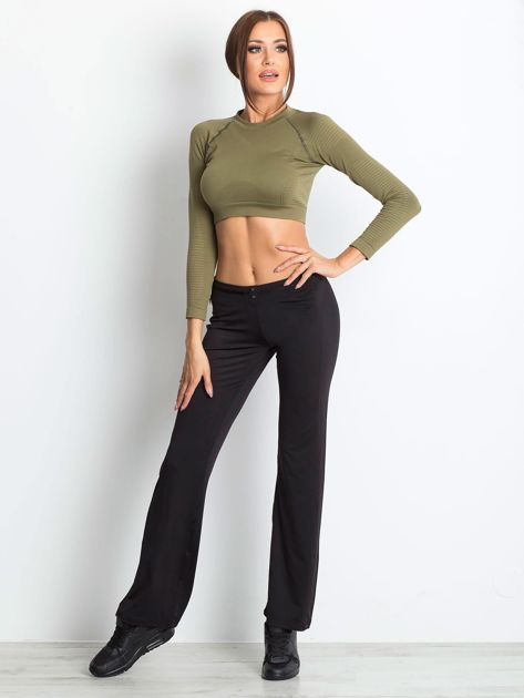 Czarne spodnie dresowe z guzikami                                  zdj.                                  4